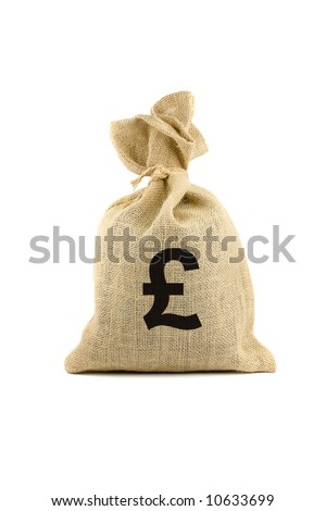 Brown bag with pound sign. Isolated on white - stock photo