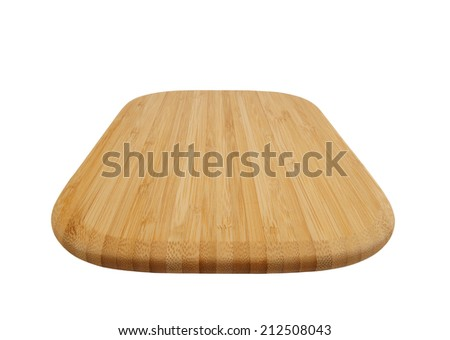 Brown bamboo cutting board isolated on white background - stock photo
