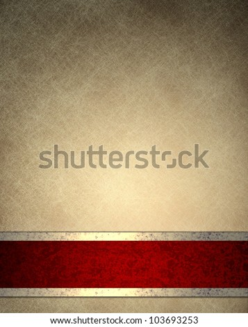 brown beige background with old parchment texture background paper design, or elegant wallpaper frame with fancy red background ribbon stripe with gold decoration, luxury background in vintage style - stock photo