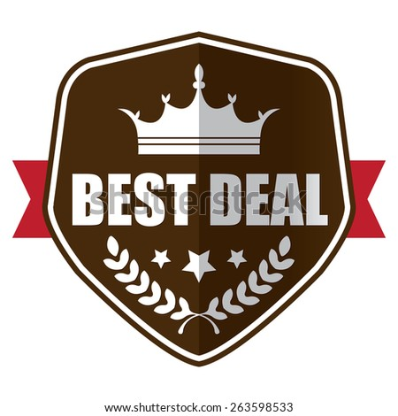 brown best deal shield, ribbon, sticker, sign, stamp, icon, label isolated on white - stock photo