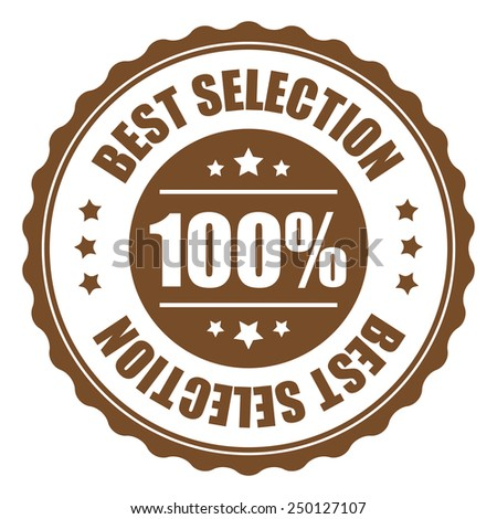 brown 100% best selection icon, tag, label, badge, sign, sticker isolated on white  - stock photo