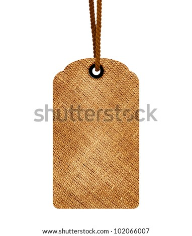 Brown blank price tag isolated on white background with copy space and path. - stock photo