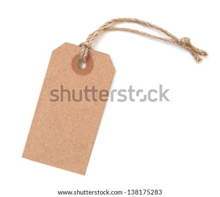 Brown blank tag isolated on white background - stock photo
