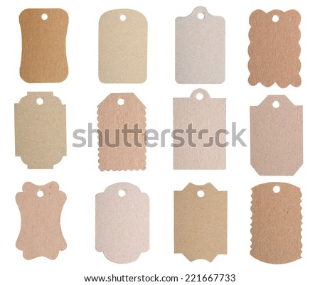 Brown blank tags isolated on white background  - stock photo