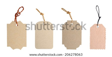 Brown Blank tags tied with string.  - stock photo