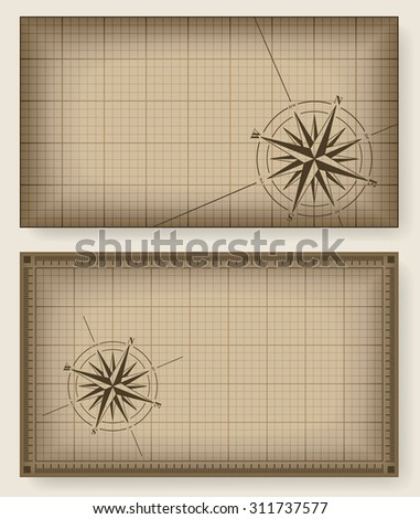 Brown blueprint background with compass rose. Raster version of the illustration. - stock photo