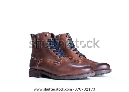 brown boots isolated on a white background,fashion. - stock photo