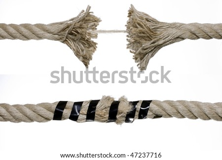 Brown broken rope - stock photo