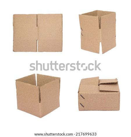 Brown cardboard box isolate on white background - stock photo