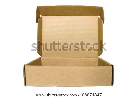 Brown cardboard Box  on White Background - stock photo
