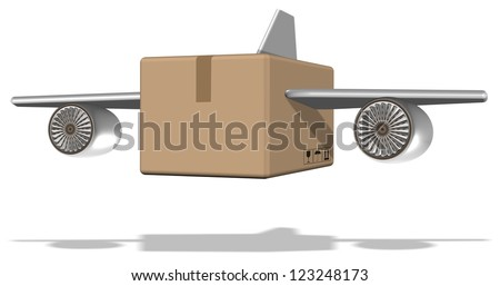 Brown cardboard box with airplane wings attached to it / Air cargo - stock photo