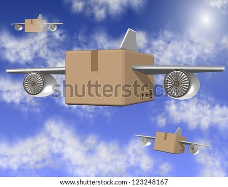 Brown cardboard boxes with airplane wings flying on the sky / Air freight - stock photo