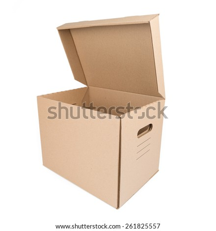Brown Carton Box Isolated on white background - stock photo