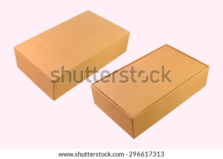 Brown carton box on white background. - stock photo