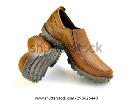 Brown casual leather man shoes isolated on white background, selective focus.  - stock photo