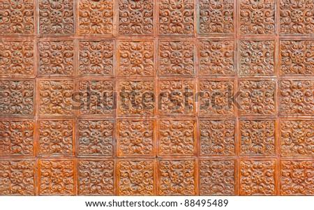 Brown ceramic tiles texture - stock photo