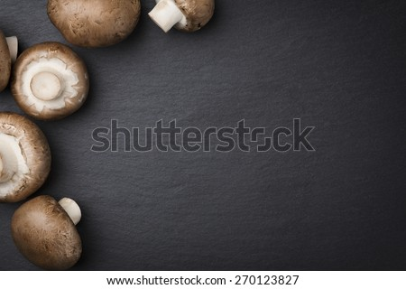 Brown champignon mushrooms isolated on dark gray stone plate background with blank copyspace. - stock photo