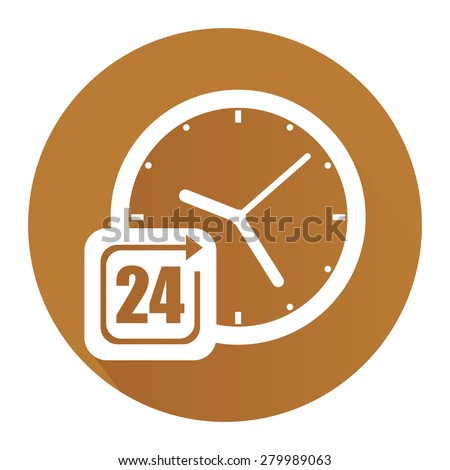Brown Circle 24 Hours Service, Open 24 Hours Long Shadow Style Icon, Label, Sticker, Sign or Banner Isolated on White Background - stock photo