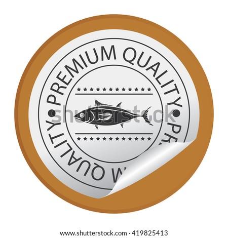Brown Circle Premium Quality Fish Product Label - stock photo