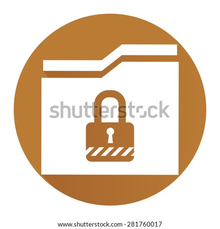 Brown Circle Secret Folder or Data Permission Security Long Shadow Style Icon, Label, Sticker, Sign or Banner Isolated on White Background - stock photo