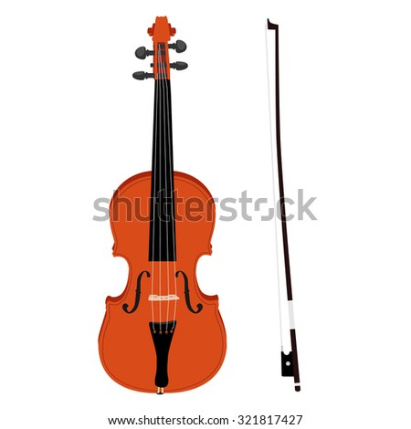 Brown classical violin with fiddle stick raster icon set isolated, musical instrument - stock photo
