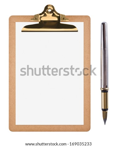 Brown clipboard with blank white paper and ink pen isolated on white - stock photo