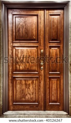 Brown closed Door - stock photo