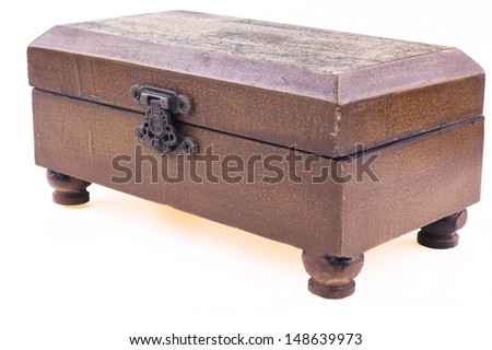 Brown closed wood jewelry box upper diagonal view isolated on white background - stock photo