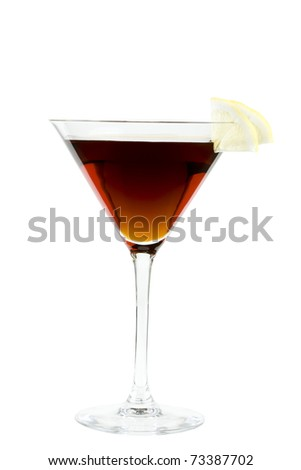 Brown cocktail with lemon - stock photo