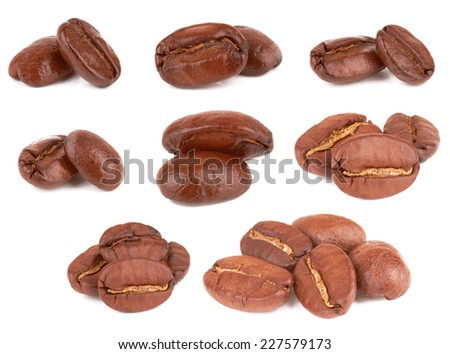 Brown coffee beans on a white background  - stock photo
