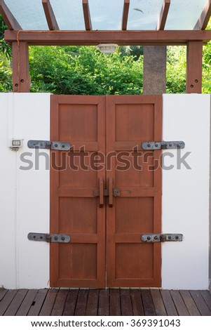 Brown color door made from wood in chinese style - stock photo