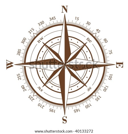 Brown compass rose isolated on white - raster image. Vector format in EPS is also available in my gallery. - stock photo