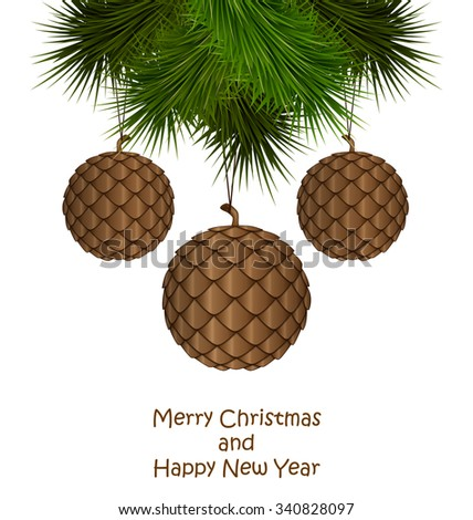 Brown cones like christmas balls hanging on pine branches isolated on white background - stock photo