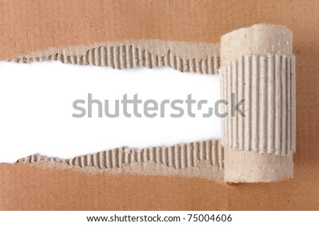 brown corrugated texture paper torn - stock photo