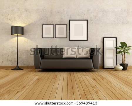 brown couch with cushion against old wall in a living room - 3D rendering - stock photo