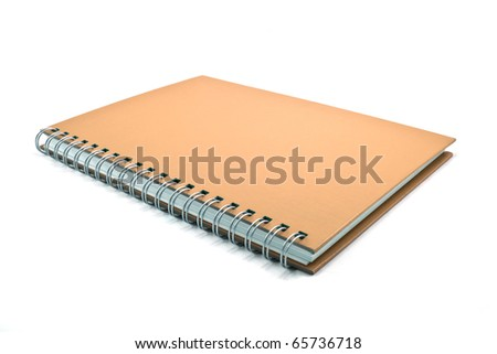 brown cover of notebook isolated on white background - stock photo