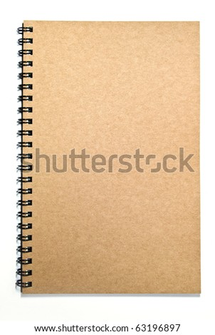 brown cover recycle paper notebook isolated on white background - stock photo