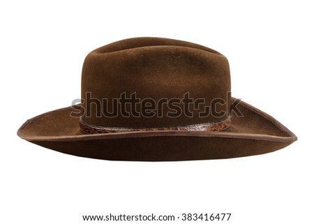 brown cowboy hat isolated on white - stock photo