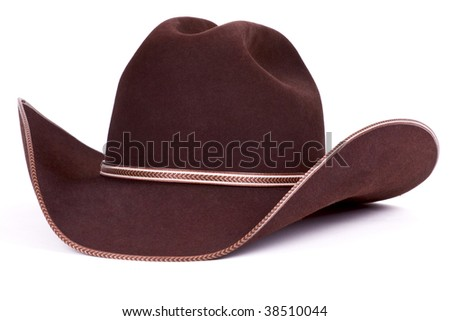 Brown cowboy stetson felt classy  hat isolated on white. - stock photo
