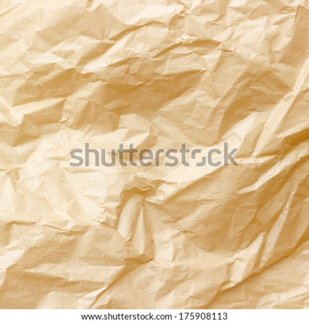 Brown crumpled paper background - stock photo