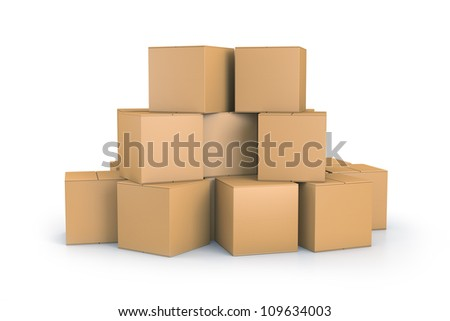 Brown cube boxes. High resolution 3D illustration with clipping paths. - stock photo
