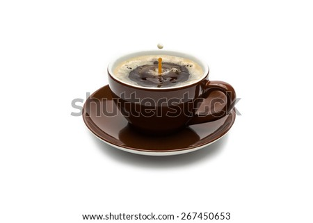 brown cup of coffee with a milk drop isolated on white background - stock photo