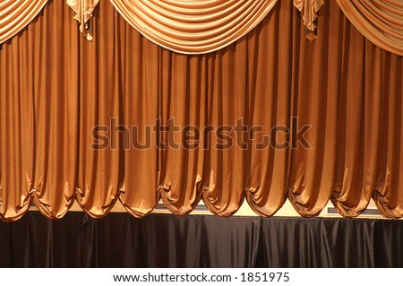 brown curtain - stock photo