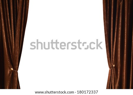 Brown curtain with white space for text - stock photo