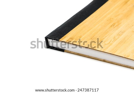brown diary book with wood texture design - stock photo