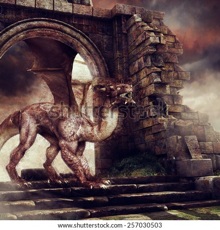 Brown dragon walking among ruins of an old castle - stock photo