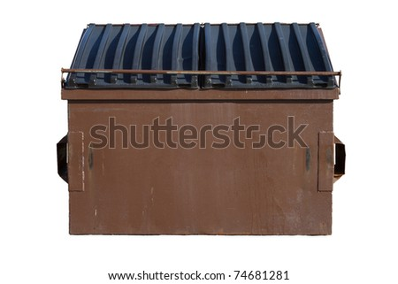 Brown Dumpster Isolated on White Background - stock photo