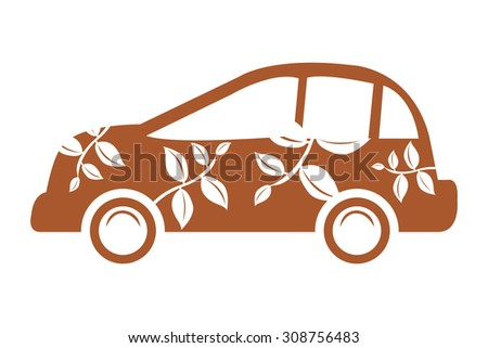 Brown Eco Car Infographics Flat Icon, Sign Isolated on White Background - stock photo