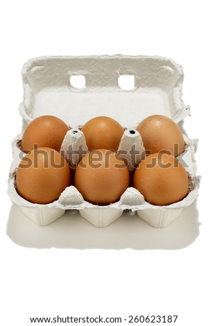 Brown Eggs Half Dozen - stock photo