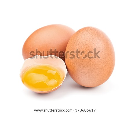 brown eggs isolated on white - stock photo